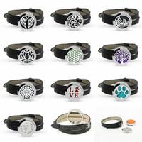 Wholesale heart locket bracelets - Hot sale designs Twist-off stainless Perfume Aroma Locket Essential Oil Diffuser Bracelet Black Leather Wristband 10p free pads