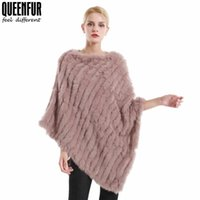 d7ea47a52 QUEENNFUR Winter Real Fur Poncho For Women Natural Knit Rabbit Fur O-Neck  Shawls Fashion Warm Cape