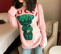 lã verde pulôver venda por atacado-2018 Outono nova estrela da marca com o mesmo modelo homens e mulheres estéreo urso verde padrão camisola de lã