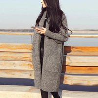 Wholesale thick wool cardigan sweater - Women Sweater Cardigan 2018 Autumn Winter Fashion Casual Thick Knitting Cardigan Sweaters With Big Pocket Female Long Coat FS5681