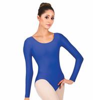 ingrosso cime di costume da ballo nero-Scoop Neck Donna Spandex manica lunga economici body ginnastica Body danza classica Top adulto nero Body One Piece Unitard