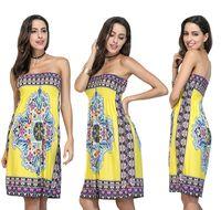 tek parça elbise yaka toptan satış-Tek parça Kılıf Tekne Boyun Çizgisi Diz Üstü Kolsuz Bohemia ipek baskı elbise