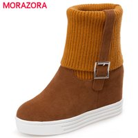 Wholesale womens fashion warm winter boots resale online - MORAZORA Height increasing womens boots platform shoes keep warm snow boots fashion comfortable ankle boots for women
