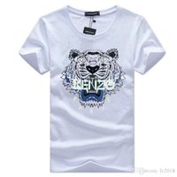cuello redondo de la chaqueta del hombre al por mayor-Venta al por mayor 22 colores opcionales de manga corta de algodón de moda de algodón absorbente de la chaqueta diseñador de ropa de verano cuello redondo Tiger head T-shirt