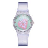 neuheit uhren uhren großhandel-Nette transparente Kind-Uhr-Luxusfrauen-Uhr-Marken-Sport-Silikon-Quarz-Armbanduhren Neuheit-Uhr-Geschenke Karikatur Reloj Mujer