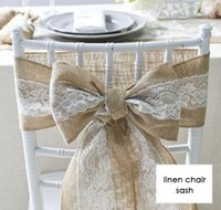 pajarita baby shower al por mayor-Fajín de la silla de lino del vintage con el cordón blanco para la fiesta de la fiesta de bienvenida al bebé del festival de la boda decoración