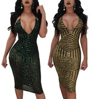 Wholesale womens clubwear dresses - Sexy Deep V Neck summer Dress 2018 Vestidos Tight Bodycon Bandage Sequins strap Dress For Womens gold ClubWear Party Dresses