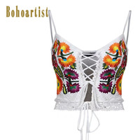 Wholesale Chic Lady - Bohoartist Tan Tops Sexy White Backless Women Short Boho Chic Fashion Embroidery Lace-Up Summer Ladies Spaghetti Bra Slim Tops