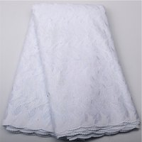 Wholesale African Voile Lace Dresses - White Lace Cotton Material Bridal African Swiss Voile In Switzerland High-End Nigerian Lace Fabrics For Wedding Dress QF450B-2