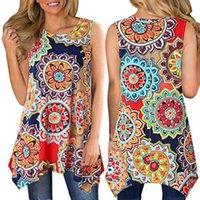 frauen s asymmetrische weste großhandel-Women Casual Printed Ärmelloses Shirt Asymmetrische Lose Tunika Bluse Tops Weste