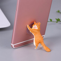 Wholesale cat tablet resale online - Universal Cute Cat Support Resin Mobile Phone Holder Stand Sucker Tablets Desk Sucker Design Smartphone Holder Features To effective red