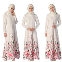 Wholesale ethnic clothing - Muslim Womens Abaya Dress O-Neck Long Sleeve Floor-Length Loose Flower Printed Islamic jilbab hijab Kaftan Womens Ethnic Clothing DK729MZ