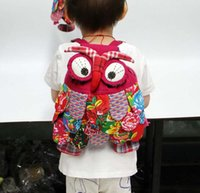 Wholesale purple owl backpack for sale - Group buy 100pcs Yunnan National Owl Patten Women Backpack Bags Personality children Cotton School bags Mix color