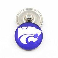 botões de botões de jóias venda por atacado-20 pçs / lote NCAA Kansas State University Esporte Esporte Encantos Botões De Pressão De Gengibre Fit 18mm Snap Mulheres PulseiraBangles Colar DIY Jóias