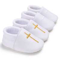 04d28cb1b90a0 Bébé église baptême baptême chaussures nouveau-né enfants premiers  marcheurs nourrisson blanc Prewalker pour les filles garçons Cross Pattern  chaussures