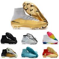 tornozelo calçados esportivos para homens venda por atacado-Branco Vermelho Arco Íris 100% Original Das Mulheres Dos Homens de Futebol Sapatos Mercurial Superfly V FG Chuteiras Alta Tornozelo Sapatos de Futebol Ronaldo Esportes Sneakers