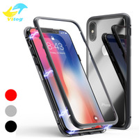 Wholesale metal phone cases online - Metal Magnetic Adsorption Phone Case for iPhone X XS MAX Plus Samsung s8 s9 plus note Clear Tempered Glass Built in Magnet Ultra