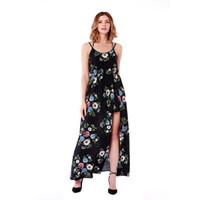 4a3f4602fcd lange sommerkleider xxxl großhandel-2018 Sommer Langes Kleid Blumendruck  Boho Split Strandkleid Tunika Maxi Kleid