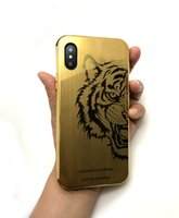 edição do ouro do iphone 24k venda por atacado-Luxo Tiger Edição limitada iPhone X caso 24k Quadro banhado a ouro Oriente metal + Ouro tampa traseira Compatível para iPhone X frete grátis!