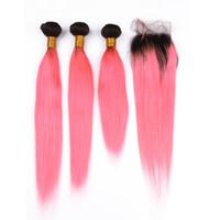 Wholesale pervian weave resale online - Pervian Straight Human Hair Weave Human Bundles With Lace Closure T1B Pink Bundles With Lace Closure
