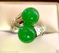 güzel yeşim halkaları toptan satış-Güzel Tibet gümüş doğal yeşil yeşim halka Boyutu: 6 # 7 # 8 # 9 # ücretsiz kargo
