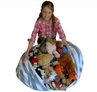 Wholesale plastic kid chairs online - Extra Large Stripe Fabric Chair Sitting Kids Plush Toys Storage Bag Pouch Stuff Animal Storage Bean Bags with carrier Handle
