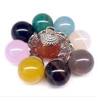 Wholesale Popular Gems - Natural Agate Bead Pendant 12mm Round Bead Necklace Pendant DIY Popular Spirit Pendulum Gem Handicraft