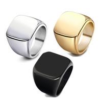 ingrosso anelli per grandi dita-Anelli di moda quadrato grande larghezza anelli sigillo 24K titanio acciaio uomo dito argento nero oro uomini anello gioielli anel nuovo