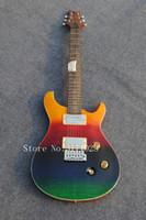 guitarras electricas diestras al por mayor-Tienda de guitarras personalizadas, guitarra Paul Smith de color arco iris, pintura de Corea 100% de madera, guitarra eléctrica de 6 cuerdas derecha