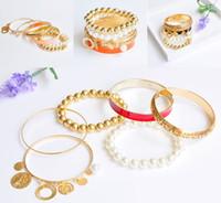 Wholesale pearl coin bracelets for sale - Group buy Boho Multilayer Pearl Bead Bracelet Set Jewelry Strand Handmade Vintage Coin Pearl Hollow Bracelet Charms Bangle Bracelet Free DHL H137R