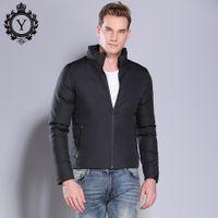 erkekler siyah kaplamaları toptan satış-COUTUDI Şık Kış Ceketler erkek Katı Siyah Sıcak Kış Parkas Standı Yaka Coon Yastıklı Ceketler Coats Giyim Artı Boyutu