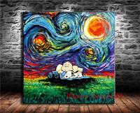 yıldızlı gece tuvali toptan satış-Charlie Brown Snoopy Yıldızlı Gece, Tuval Adet Ev Dekorasyonu HD Baskılı Modern Sanat Tuval Üzerine Boyama (Çerçevesiz / Çerçeveli)