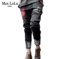 ingrosso jeans harem neri-Max LuLu Luxury Brand Donna elasticizzata Jeans strappati da donna Nero Ricamo Donna Skinny Casual Vintage pantaloni denim Harem Plus Size S18101604