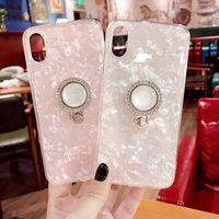 capas bonitos do telefone do diamante venda por atacado-Conch shell branco phone case para iphone xs max xr x 8 mais bonito rosa shell tampa traseira macia do diamante suporte para iphone x 6 6 s 7 8 além de