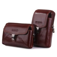 телефон 6x оптовых- Genuine Cow Leather Men's Waist Belt Pack Fanny Bag 7' Cell Mobile Phone Wallet Punch Case Cover For Iphone 6X,7p X