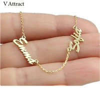 Wholesale Personalized Jewelry Friends - whole saleV Attract Best Friends Personalized Two Name Necklace BFF Jewelry Stainless Steel Chain Nameplate Colar Custom Family Choker