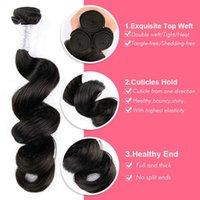 gevşek örgü saç uzantıları toptan satış-Brezilyalı Saç Demetleri Gevşek Dalga İnsan Saç Uzantıları 100% Remy Brezilyalı İnsan Saç Dokuma 4 Paketler Uzatma Doğal Renk