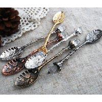 fourches vintage achat en gros de-Vintage Royal Style métal sculpté café cuillères fourchettes avec tête de cristal cuisine fruits prikkers dessert dessert glace scoop cadeau