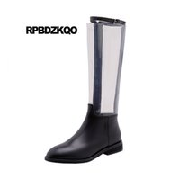 c9218c1edc3c88 long handmade clear big size tall designer shoes women luxury 2018 winter  black fur pvc knee high flat boots autumn transparent