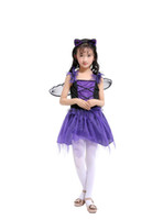 Wholesale children s fancy clothing online - Bats fairy Princess cosplay costume for kids the queen costume cosplay fancy dress for girl fo Halloween party child clothes
