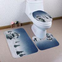 capas de radiador venda por atacado-Novo Design de Casa de Natal Toalete Almofada Do Assento Tampa Do Radiador Conjuntos de Banheiro Tapetes de Banho