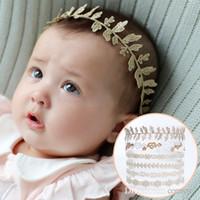 pelo de encaje de oro al por mayor-Cintas del cordón del bebé hoja de la flor tipos de corazón hairbands Niños Niños tocado de oro lindo headwear Niños accesorios para el cabello KHA387