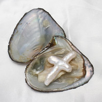 Wholesale oysters with pearls resale online - 2020 New DIY Love Wish Pearl Oyster Freshwater Oyster Cross Shape Pearl Oyster Luxury Jewelry One Oysters With One Pearls In Vacuum Packed