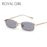 7a87bd5ac4 ROYAL GIRL Retro Rectangle Sunglasses Men Women 2018 Nuevo Pequeño Marco de  Metal Clear Lens Square Sun Glasses Vintage Shades ss016