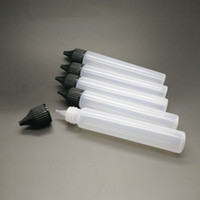 siyah göz şişesi toptan satış-30ml Boş Şişeler İnce Kalem Stil E-Sıvı Vape E Suyu Yağı Plastik PE Şişe Uzun İnce İpucu Damlalık Damlalık Şişe Beyaz Siyah Kapaklar
