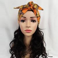 ingrosso testa cravatta africana gele sego-African Headties Sego Gele Tie Head per le donne African Cotton Wax Print Ankara Accessori fatti a mano Cravatta versatile per capelli WYX04