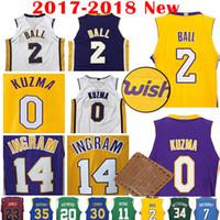 Wholesale Lakers Jersey Xxl - 2017-18 New Men's Los Angeles #2 Lonzo Ball 0 Kyle Kuzma 14 ingram purple black Blue white yellow Jersey Lakers stitching Jerseys
