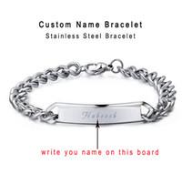 kundenspezifisches armband personifizieren sie großhandel-Benutzerdefinierte personalisierte Armband Name Gravierte Cowboy Armbänder Männer Angepasste Wörter Frauen Schmuck bieten Gravieren Geschenkbox Qi Qi Wu
