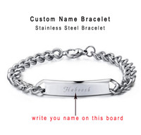 ingrosso braccialetti unisex personalizzati-Braccialetto personalizzato personalizzato Nome Bracciali da uomo con incisione Uomini personalizzati Parole Gioielli da donna Fornire Incisione confezione regalo Qi Qi Wu