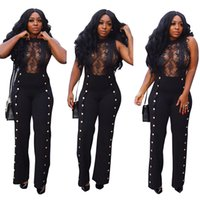 3bc203571fe 2019 Newest Black See Through Lace Sexy Women Jumpsuits Crew Neck Sleeves  Buttons Straight Long Pants Night Out Club Jumpsuits Outfits